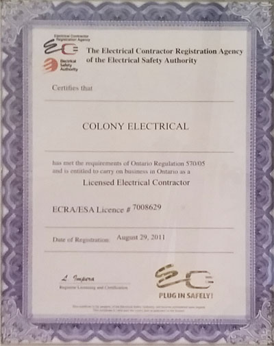 Licenced Electrician by The Electrial Contractor Registration Agency of  the Electrical Safety Authority