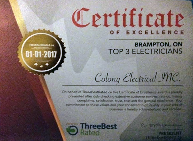 Best electrician Award - Top 3 Electricians. 2017