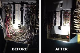 Residential Electrical Distribution Panel, Before and After