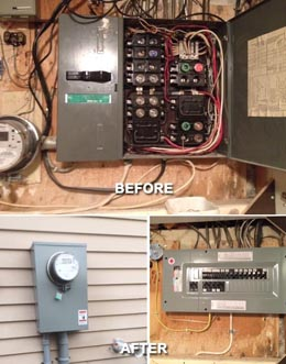 Residential Electrical Distribution Panel and Electricity Meter, Before and After